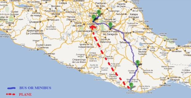 map of mexico trip