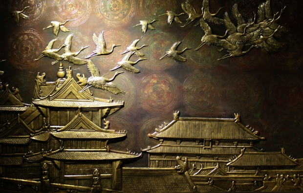 bronze bas relief in Forbidden city beijing china